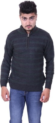 Austrich Floral Print Round Neck Casual Men's Grey Sweater