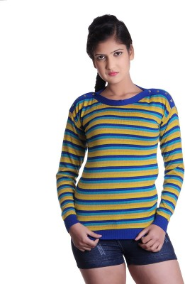 Spink Solid Round Neck Casual Women's Multicolor Sweater