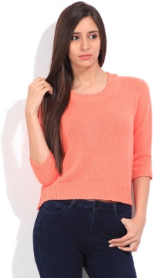 Lee Self Design Round Neck Casual Women's Pink Sweater