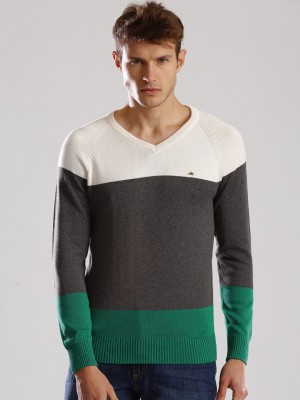 WROGN Solid V-neck Casual Men's White Sweater
