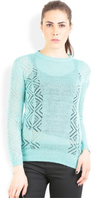 Lee Solid Round Neck Casual Women's Green Sweater