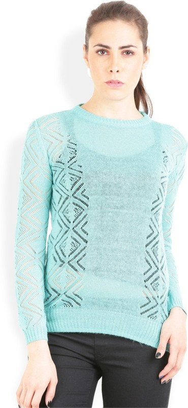 Lee Solid Round Neck Casual Women Green Sweater
