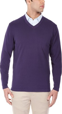 Being Fab Solid V-neck Casual Men's Purple Sweater