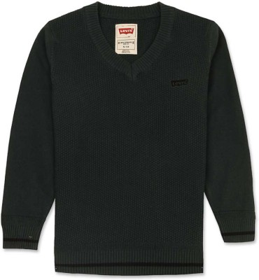 Levi's Solid V-neck Casual Girl's Green Sweater
