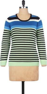 Pazaro Striped Round Neck Casual Women's Green Sweater