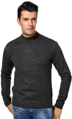 Peter England Solid Round Neck Casual Men's Grey Sweater