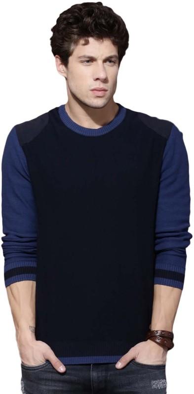 Roadster Solid Round Neck Casual Men Dark Blue Sweater