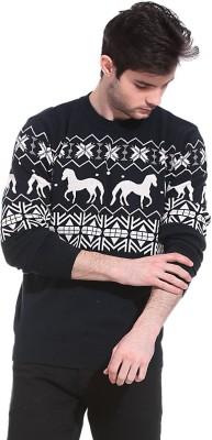 Claude 9 Printed Crew Neck Men's Black Sweater