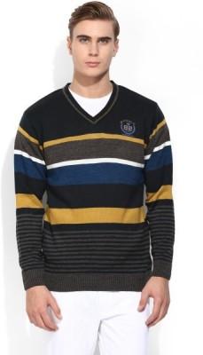COBB Striped V-neck Men's Brown Sweater