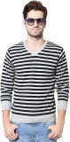 People Striped V-neck Casual Men Grey Sw...
