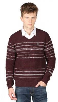 Again Striped V-neck Casual Men's Brown Sweater