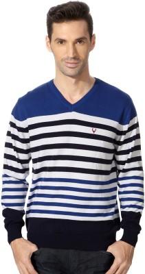 Allen Solly Striped V-neck Sports Men's Blue Sweater