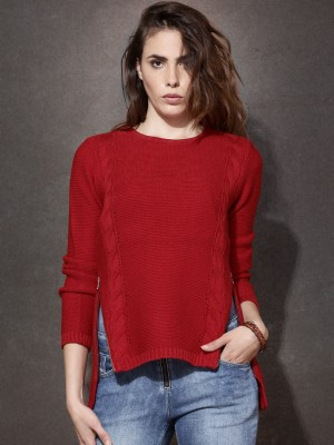 Roadster Self Design Round Neck Casual Women's Red Sweater