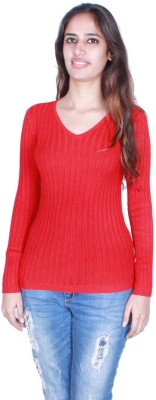 GnC Solid Round Neck Casual, Formal, Sports, Party Women's Red Sweater