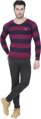 Alay Striped V-neck Casual, Party, Formal, Sports, Festive, Lounge Wear Men's Purple Sweater