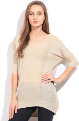 Arrow Self Design V-neck Casual Women's Gold Sweater