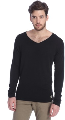 Jack & Jones Solid V-neck Casual Men Black Sweater