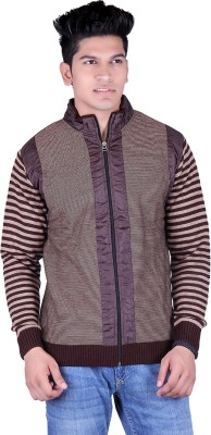 Shax Solid, Striped Round Neck Casual, Festive, Formal, Party, Sports, Wedding Men's Brown Sweater