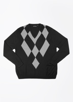John Players Self Design V-neck Casual Men's Black, Grey Sweater