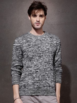 Roadster Self Design Round Neck Casual Men's Black Sweater