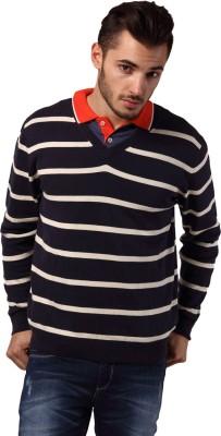 Yepme Striped V-neck Casual Men,s Blue, White Sweater