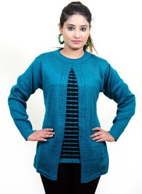 Laadli Ji Striped Round Neck Women,s Dark Green Sweater