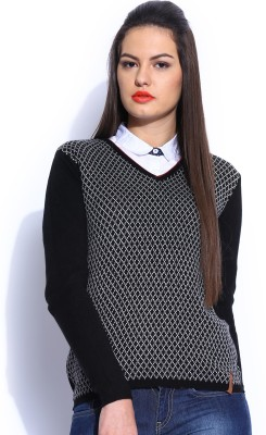 Harvard Self Design V-neck Casual Women,s Black Sweater