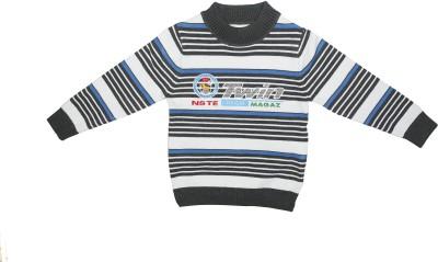 Camey Striped Round Neck Casual Baby Boy's Grey Sweater