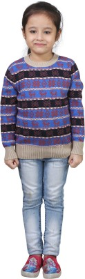 Crazeis Printed Round Neck Casual Girls Red, Blue Sweater