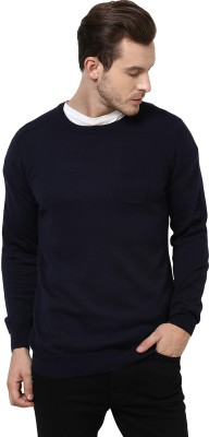 Yepme Solid Round Neck Casual Men,s Blue Sweater