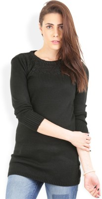 Wrangler Solid Round Neck Casual, Party Women's Black Sweater