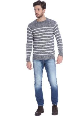 Jack & Jones Solid Round Neck Casual Men's Blue Sweater