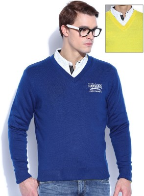 Harvard Solid V-neck Casual Men's Blue, Yellow Sweater