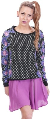 Paint It Red Polka Print Round Neck Casual Women's Multicolor Sweater