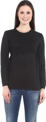 Miss Grace Self Design Round Neck Casual Women's Black Sweater