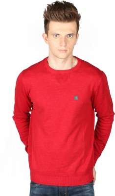 Again Solid Round Neck Casual Men's Red Sweater