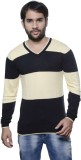 AMX Striped V-neck Casual Men Black Swea...