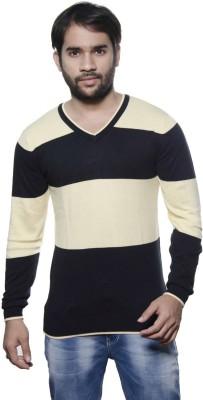 AMX Striped V-neck Casual Men's Black Sweater