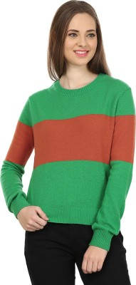 United Colors of Benetton Self Design Round Neck Casual Women's Green, Red Sweater