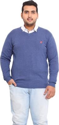 John Pride Solid V-neck Men's Blue Sweater