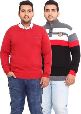 John Pride Striped V-neck Casual Men's Black, Red Sweater