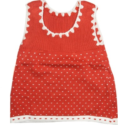 Camey Solid Round Neck Casual Baby Girl's Orange Sweater