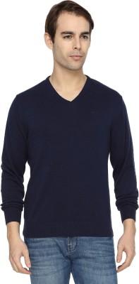 Wrangler Solid V-neck Casual Men's Dark Blue Sweater