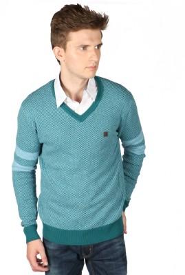 Again Self Design V-neck Casual Men's Green Sweater