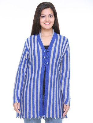Cee-For Striped V-neck Casual Women's Blue, Grey Sweater