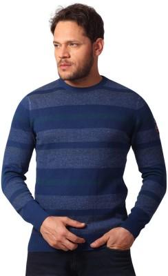 Club Fox Striped Round Neck Casual Men's Dark Blue Sweater
