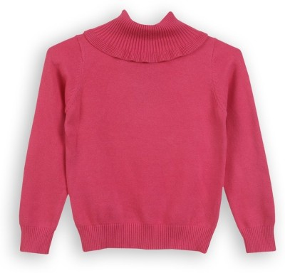 Lilliput Solid Turtle Neck Girl's Red Sweater