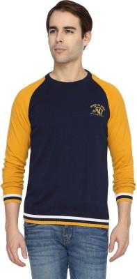 Wrangler Solid Round Neck Casual Men's Dark Blue, Yellow Sweater