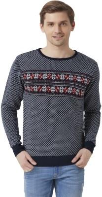 Peter England Geometric Print Round Neck Casual Men's Dark Blue Sweater