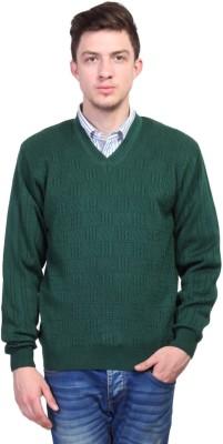 Priknit Self Design V-neck Casual Men's Green Sweater